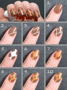 Argyle Nail Art tutorial by Wacky Laki. Nails. Manicure.