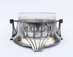 Antique 1900 Art Nouveau WMF AK & CIE Pewter Crystal Glass Butter Dish #AkCieWMF