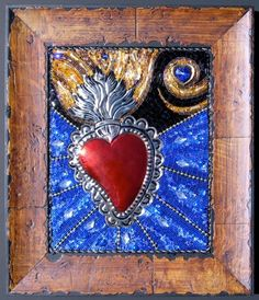 Blazing Heart Corazon Ardiente Beaded Mosaic by WithAllMyHeartArt, $425.00