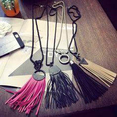 2015 nuevo estilo de cuero largo negro de la borla de múltiples capas collar de oro para mujer joyería