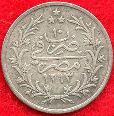 EGYPT - 1 QIRSH - AH1293/10 (1884) - 83.3% SILVER - 0.0375 ASW