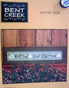 bent creek cross stitch   Pattern Cross Stitch Bent Creek Winter Row Christmas Primitive Snowman ...