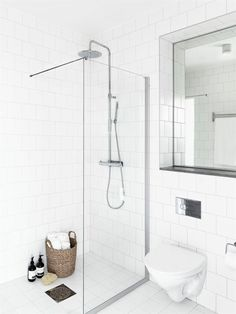 Amazing Modern Calm-Looking Interior Design In Neutral Colors : Calm Modern Interior Design With White Bathroom Wall Glass Shower Closet Mirror Ceramic Floor Downstairs Bathroom, Laundry In Bathroom, Bathroom Inspo, White Bathroom, Bathroom Inspiration, Small Bathroom, Master Bathroom, White Shower, Design Bathroom