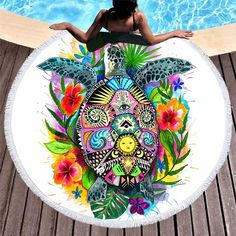 Turtle Life by Pixie Cold Art Large Round Beach Towel Tortoise Microfiber Blanket With Tassel Summer Toalla Bohemian Picnic Mat Beach Wrap, Beach Fun, Beach Yoga, Hippie Beach, Pixie, Microfiber Blanket, Turtle Life, Glands, Pom Poms