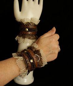Victorian Steampunk Ruffled cuffs slave