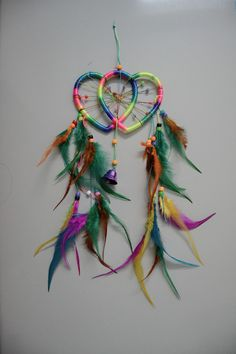 Double heart colorful dream catcher hanging room decor car decor,shop at www.costwe.com