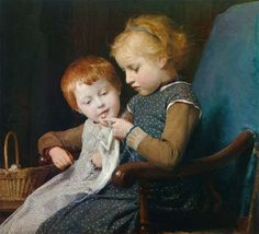 Albert Anker - Les petites tricoteuses