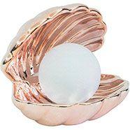 Metallic Rose Gold Mermaid Ceramic Clam Light