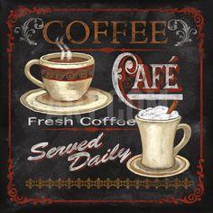 Coffee Café Art Print by Conrad Knutsen at Art.com