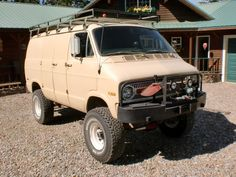 Sky jacked Tradesmans, Bank account in the Caymans, Black smoke billows from my cabin home, No lookin' back, I'm packed and set to roam. 4x4 Van For Sale, Cars For Sale, Off Road Camping, Van Camping, Ambulance, Bus Camper, Campers, Lifted Van, Dodge Ram Van