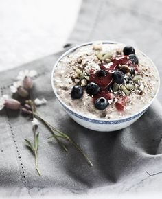 Raw buckwheat yogurt with blueberries & chiajam,