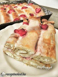 Túrós-epres  rakott palacsinta Breakfast Recipes, Ethnic Recipes, Desserts, Food, Tailgate Desserts, Deserts, Essen, Postres, Meals