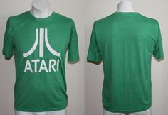 Genuine Atari Retro Style Men Fashion Designer Tshirt Size S Green Color & Logo