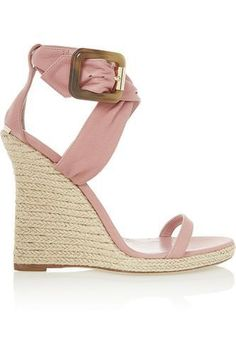 Leather wedge sandals #wedgesandals #women #covetme #burberryshoes&accessories