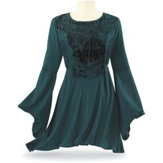Renaissance Velvet Women's Top Size 1X ($70) ❤ liked on Polyvore featuring plus size