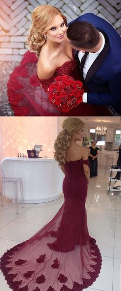 RED PROM DRESS, TULLE BEAUTIFUL APPLIQUES OFF-THE-SHOULDER MERMAID PROM DRESS/EVENING DRESS MK597