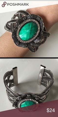 TODAY ONLY SALE Large Green Stone Silver Plated Cuff Bracelet T&J Designs Jewelry Bracelets