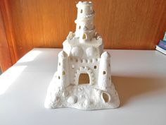 "Partylite Bisque Sand Castle Tealight House - 8-1/4"" Tall - Excellent Mint Condition - Free Shiipping"