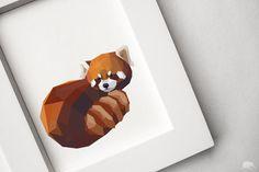 8x10 Geometric Illustration Red Panda Animal by TinyKiwiCreations, $7.00