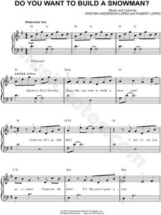 Print and download sheet music for Do You Want To Build a Snowman? from Frozen. Sheet music arranged for Easy Piano in G Major (transposable).