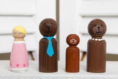 RTS,ReadyToShip,Goldilocks and the Three Bears Wooden Peg Dolls, Hand Painted Peg Dolls, Wooden Peg Dolls, Handmade.Waldorf, Steiner,Natural