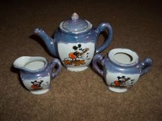 RARE Vintage Lusterware Mickey Mouse Childrens Teapot - Cream - Sugar (no lid), ends 10/11/14  Bid $17.95