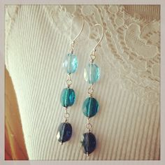Ocean Blues crystal sterling silver dangle by BlitzyBellJewelry,