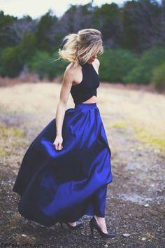 Elegant black crop top and floor length navy blue skirt