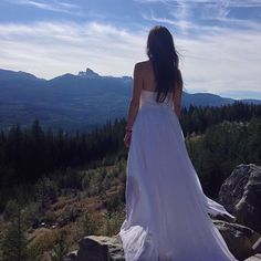 The Athena in white chiffon, photographed against one of the most majestic backdrops in Canada, Black Tusk. White Chiffon, Backdrops, Destination Wedding, White Dress, Bohemian, Canada, Weddings, Bridal, Wedding Dresses