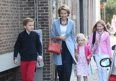 Queen Mathilde Of Belgium brings Her Children, Elisabeth, Eleonore & Gabriel To Sint-Jans Berghmans College to Attend First Day Of School on Sept. 1, 2014.