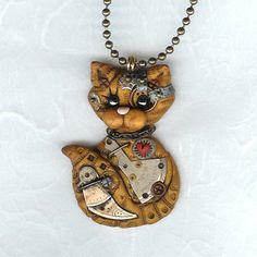Steampunk Yellow Tabby Kitty Cat Necklace Polymer Clay Jewelry