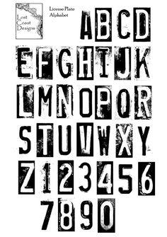 License Plate Alphabet