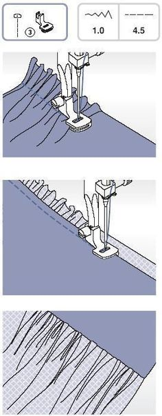 Řasící patka  Usnadňuje rovnoměrné nařasení materiálu.   Použijte řasící patku. Volič tvaru stehu nastavte na přímý steh .   Uvolněte držák patky a nasaďte řasící patku, snižte nastavení napětí do polohy pod 2. Vložte látku, kterou chcete řasit pod patku vpravo patky. Ušijte řadu stehů, přičemž držte okraj látky souměrně s pravou hranou patky. Stehy automaticky řasí materiál. Zatáhnutím za spodní nit materiál více nařasíte. Vhodné pro lehké až středně těžké materiály.   Řasení a při