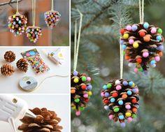 adornos de navidad caseros - Piñas y pompones