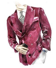 Man Illustration, Fashion Illustration Sketches, Fashion Sketches, Watercolor Illustration, Watercolor Art, Watercolor Fashion, Illustrations, Silhouette Mode, Fathers Day Art
