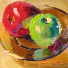 This 6 painting is painted on an Ampersand Gessobord. The board is archival and is of sturdy construction. I painted this still life from life in my Apple Painting, Fruit Painting, Painting Abstract, Complimentary Colors, Still Life Art, Small Paintings, Art Club, Red Apple, Art Techniques