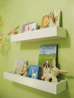 How to make wall shelves for books in the Young House Love nursery,