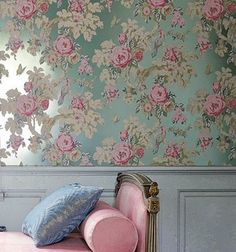 Anna French Wild Flora. A bit much, but oh so pretty. Would be fun in a bathroom or girls nursery.