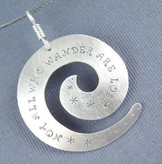 Sterling Silver Not  All Who Wander Are Lost Spiral by lpjewelry, $39.00