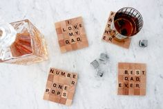 A homemade gift as awesome as these Scrabble coasters is sure to secure you favourite-child status this Father's Day. By Adena Leigh men's gift ideas Homemade Gift For Grandma, Grandma Gifts, Homemade Gifts, Diy Father's Day Gifts, Father's Day Diy, Scrabble Coasters, Scrabble Letters, Gifts For Hubby, Daddy Day