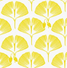 Yellow and white designer wallpaper by Kuboaa Ginko Goarse Yellow modern contemporary design - Kuboaa