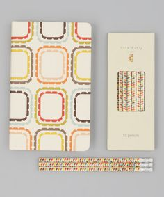 orla kiely notebook + pencils