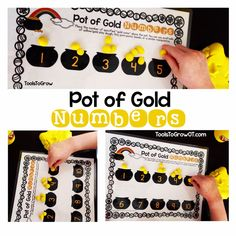 Pot of Gold - Dough/Fine Motor Mat and Number Activity by Tools to Grow - repinned by @PediaStaff – Please Visit  ht.ly/63sNt for all our pediatric therapy pins