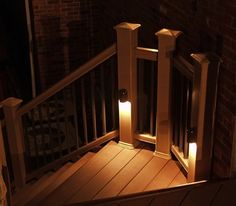 Ideas for Lighting Your Outdoor Steps - Other simple-to-install options that work especially well for decks include banister cap lights, rope lights and downlights built into the posts. Most of these accessories are easy to find, and retrofitting an existing deck stairway should be relatively easy.