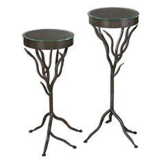Esher Bronze Plant Stand, Set of 2