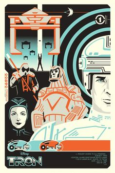 """Brilliant Tron artwork... The other day at school, I asked a friend if he'd seen the first Tron. He promptly replied, """"There's two?"""" -_-"""
