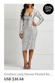 4e00c760b3 Ericdress Long Sleeves Pleated Bodycon Women s Dress