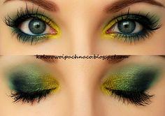 Makeup Geek: * eyeshadows: Pixie Dust, Appletini, Peacock,  Shark Bait, Vanilla Bean * gel liner: Fame Mascara: Maybelline Colossal Smoky Eyes Eyebrow: Catrice Eyebrow Set