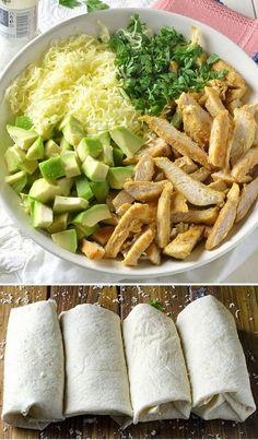 Chicken Avocado Burritos Recipe ~ Food Network Recipes