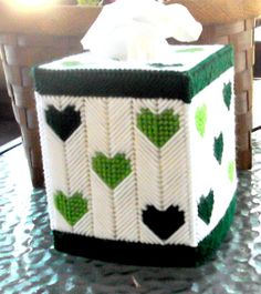 Green Hearts Tissue Box Cover by TissueMart on Etsy, $18.00